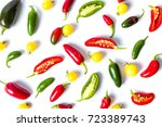 colorful peppers and cherry... | Shutterstock . vector #723389743