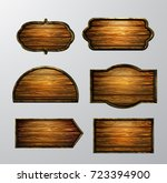 wooden signs  vector icon set | Shutterstock .eps vector #723394900