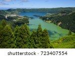 the sete cidades lagoon in sao... | Shutterstock . vector #723407554