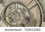 money us dollars spiral twirl... | Shutterstock . vector #723412360