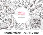 grilled meat and vegetables top ... | Shutterstock .eps vector #723417100