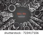 grill and bar menu design... | Shutterstock .eps vector #723417106
