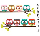 eight colorful owls on a branch | Shutterstock .eps vector #723420319
