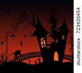 halloween background with...   Shutterstock .eps vector #723420454