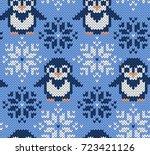 penguin jacquard knitted... | Shutterstock .eps vector #723421126