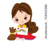 vector cute little artist... | Shutterstock .eps vector #723422380