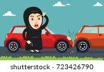 arab woman or girl got involved ...   Shutterstock .eps vector #723426790