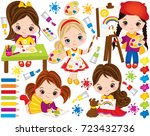 vector set with cute little... | Shutterstock .eps vector #723432736