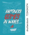 sea ship waves vector poster... | Shutterstock .eps vector #723434374