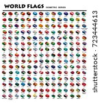 isometric flags of world | Shutterstock .eps vector #723444613
