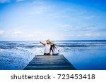 couple traveler looking for... | Shutterstock . vector #723453418