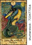 Dragon. Ten Of Wands. Fantasy...