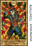 baron samedi. page of pentacles.... | Shutterstock . vector #723477478