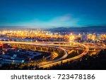 ocean container terminal in...   Shutterstock . vector #723478186