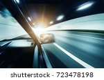 curve tunnel inside and road... | Shutterstock . vector #723478198