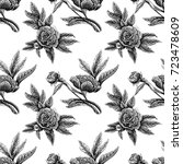 seamless vector flower peony... | Shutterstock .eps vector #723478609