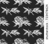 seamless vector flower peony... | Shutterstock .eps vector #723478624
