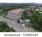 aerial view of church beside a... | Shutterstock . vector #723482164