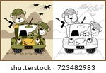 animals army on military truck  ...   Shutterstock .eps vector #723482983