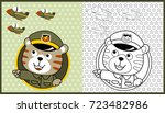vector cartoon of animal soldier with jets on stars background, coloring book or page
