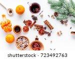 ingredients mulled wine or grog ... | Shutterstock . vector #723492763