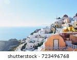 view of buildings in santorini  ...   Shutterstock . vector #723496768