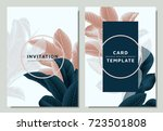 hand drawn tropical dark green... | Shutterstock .eps vector #723501808