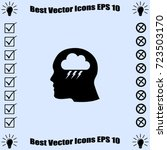 head profile with thunder cloud ... | Shutterstock .eps vector #723503170