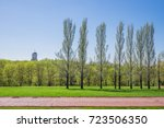 beautiful green park   blue... | Shutterstock . vector #723506350