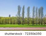 beautiful green park   blue... | Shutterstock . vector #723506350