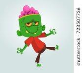 vector cartoon green zombie on... | Shutterstock .eps vector #723507736