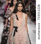 Small photo of NEW YORK, NY - September 13, 2017: Aira Ferreira walks the runway at the Marchesa Spring Summer 2018 fashion show during New York Fashion Week