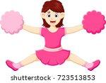 beauty cheerleader cartoon... | Shutterstock .eps vector #723513853