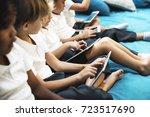 group of diverse kindergarten... | Shutterstock . vector #723517690