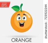 orange cute fruit cartoon... | Shutterstock .eps vector #723522244