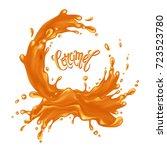 caramel frame. liquid splash... | Shutterstock . vector #723523780