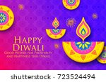 illustration of burning diya on ... | Shutterstock .eps vector #723524494
