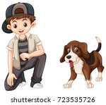 kids with his dog | Shutterstock .eps vector #723535726