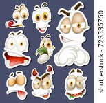 Sticker set with different facial expressions illustration