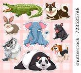 Sticker set for wild animals on pink background illustration