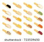 groats in wooden scoop set.... | Shutterstock .eps vector #723539650