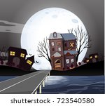haunted houses on fullmoon... | Shutterstock .eps vector #723540580