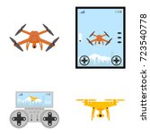 aerial drone with a camera... | Shutterstock .eps vector #723540778