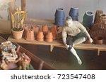 miniature coop fishing in... | Shutterstock . vector #723547408