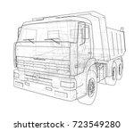 dump truck. vector rendering of ... | Shutterstock .eps vector #723549280