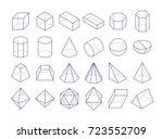 3d geometric shapes. outline... | Shutterstock .eps vector #723552709