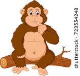 cute orangutan cartoon sitting... | Shutterstock .eps vector #723554248