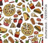 fast food. seamless pattern in... | Shutterstock .eps vector #723554716