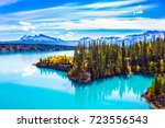 abraham lake is in the rockies...   Shutterstock . vector #723556543