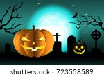 halloween with pumpkins on... | Shutterstock .eps vector #723558589